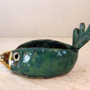 Fugleskål i keramik med guldneb