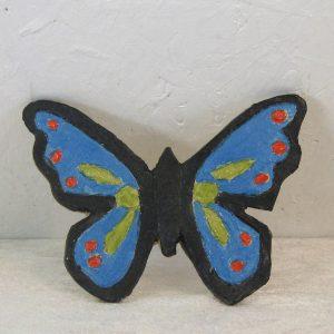 Sommerfugl 1 - blå med rød og grøn deko